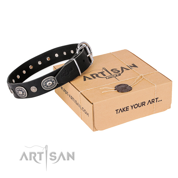 Soft full grain natural leather dog collar handcrafted for daily use