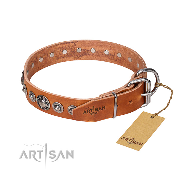 Natural genuine leather dog collar made of reliable material with reliable adornments