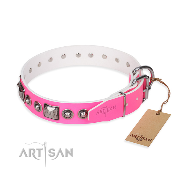 Soft to touch full grain natural leather dog collar handmade for daily use