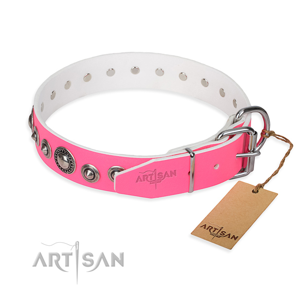 Leather dog collar made of best quality material with corrosion resistant embellishments