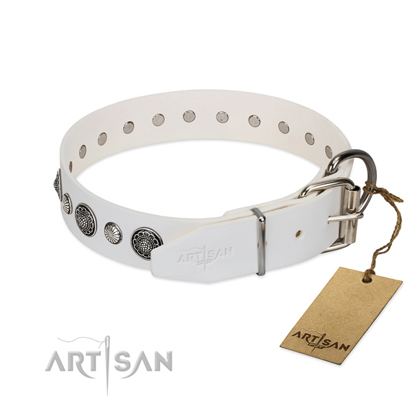 Reliable Full grain natural leather dog collar with corrosion proof D-ring