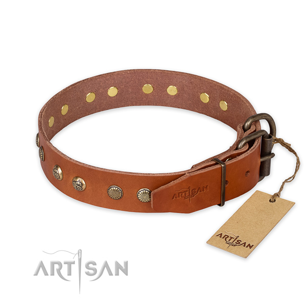 Corrosion resistant buckle on full grain genuine leather collar for your attractive pet