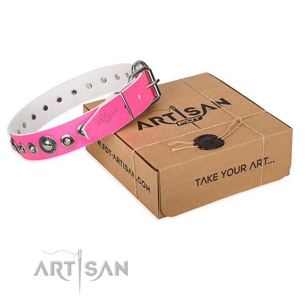 Full grain leather dog collar made of soft to touch material with corrosion resistant fittings