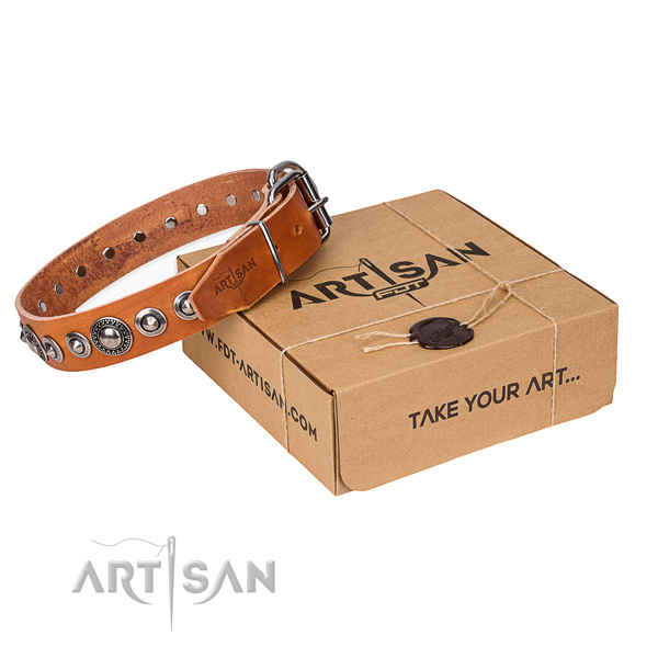 Leather dog collar made of soft material with reliable D-ring