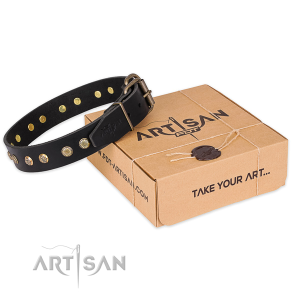 Rust-proof D-ring on leather collar for your handsome doggie