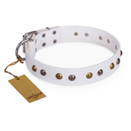 """Snowflake"" FDT Artisan White Leather Pitbull Collar with Decorations"