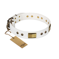"""Precious Necklace"" FDT Artisan White Leather Pitbull Collar with Old Bronze Look Plates and Studs"