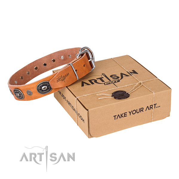 Strong full grain leather dog collar created for handy use