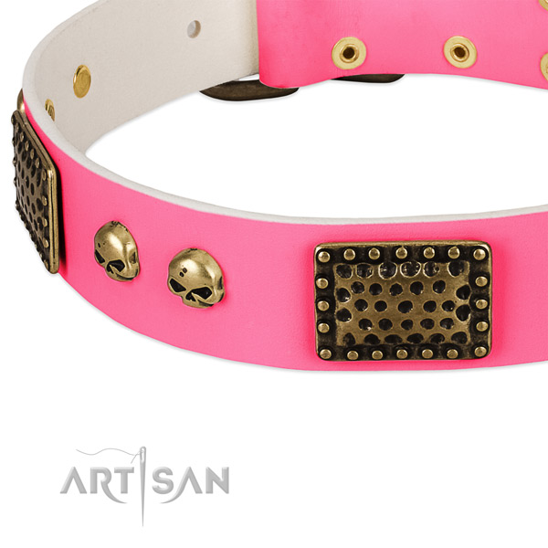 Strong hardware on full grain leather dog collar for your doggie