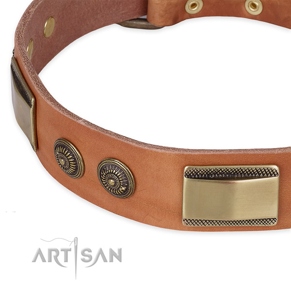 Corrosion resistant hardware on natural genuine leather dog collar for your dog