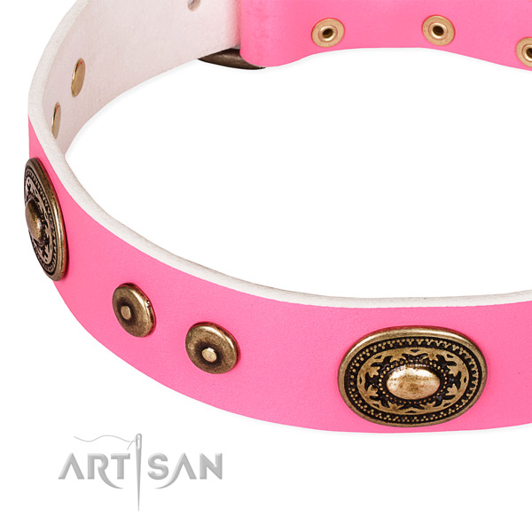 Natural genuine leather dog collar made of top notch material with studs