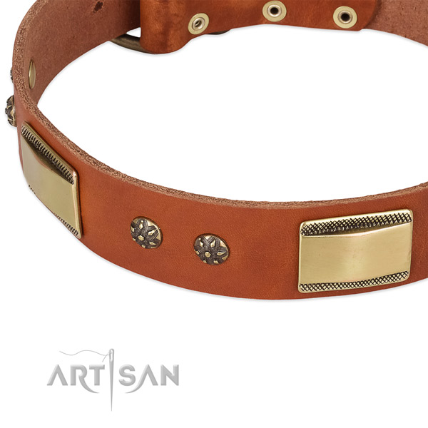 Corrosion proof D-ring on full grain leather dog collar for your dog
