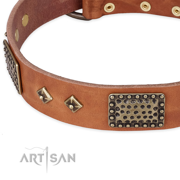 Strong hardware on genuine leather dog collar for your pet