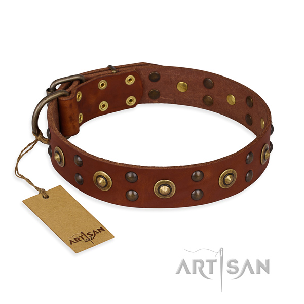 Inimitable full grain natural leather dog collar with rust-proof D-ring