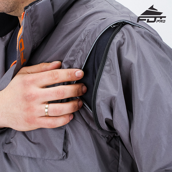 Top Notch Zipper on Sleeve for FDT Professional Design Dog Tracking Jacket