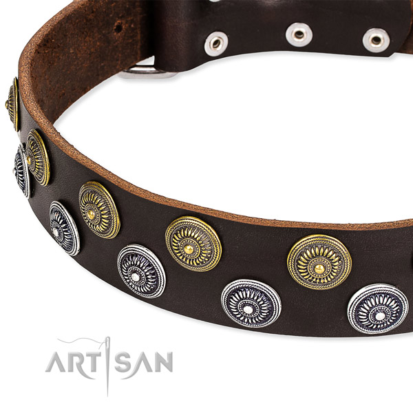 Genuine leather dog collar with fashionable decorations