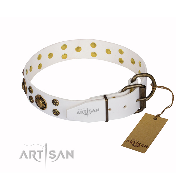 Handy use full grain leather collar with decorations for your canine
