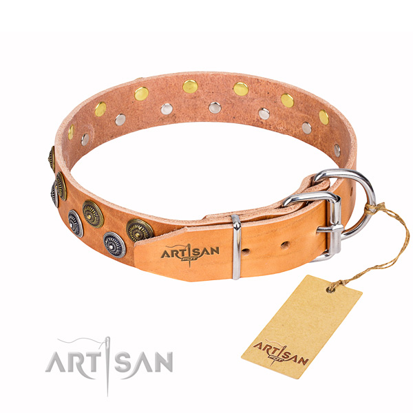 Everyday use full grain leather collar with decorations for your pet