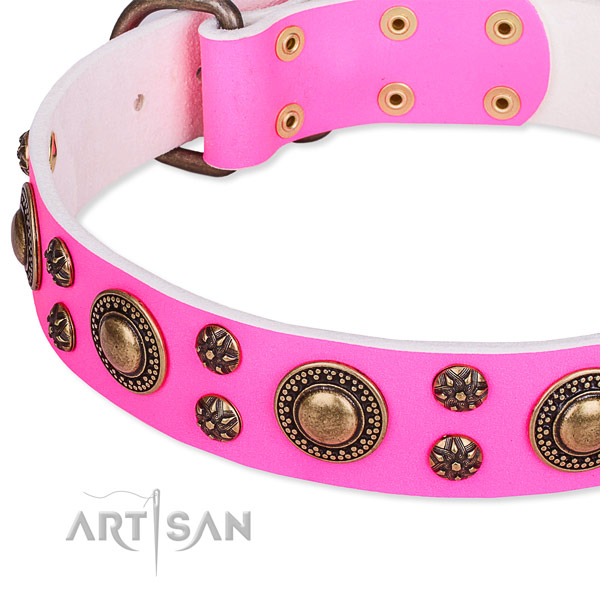 Natural genuine leather dog collar with trendy adornments