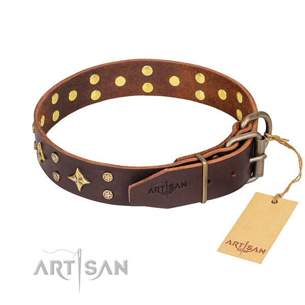 Stylish walking full grain natural leather collar with decorations for your pet