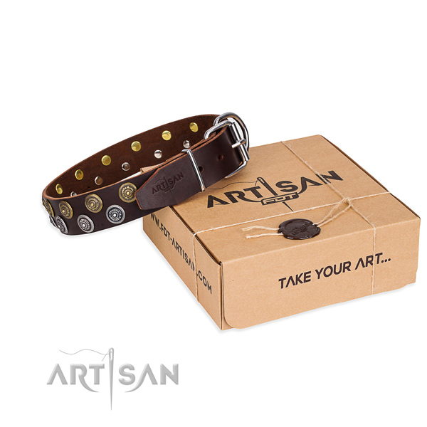 Leather dog collar with adornments for handy use
