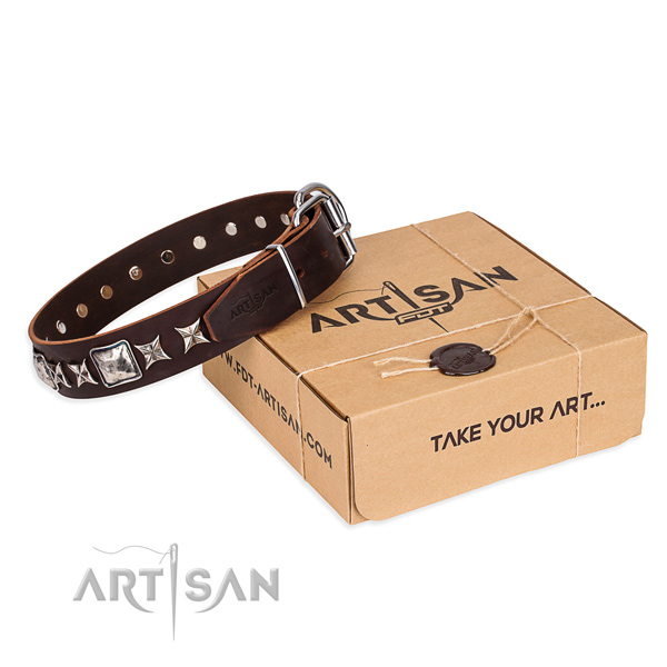 Adorned natural genuine leather dog collar for easy wearing