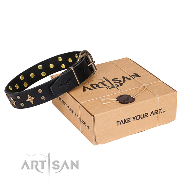 Adorned natural genuine leather dog collar for daily use