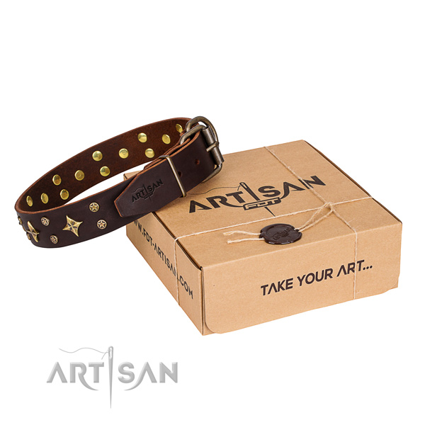 Adorned natural genuine leather dog collar for stylish walking