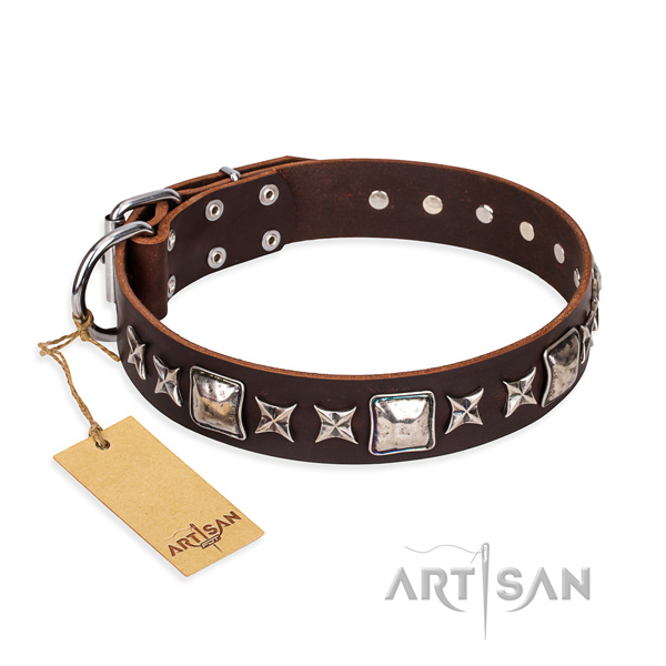 Significant natural genuine leather dog collar for stylish walking