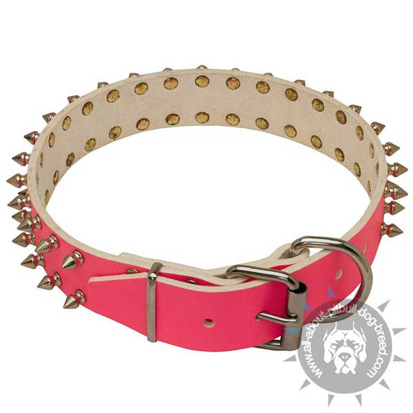 Pink Leather Collar with Storng Hardware