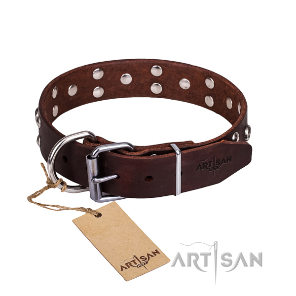 Leather dog collar with rounded edges for comfy daily walking