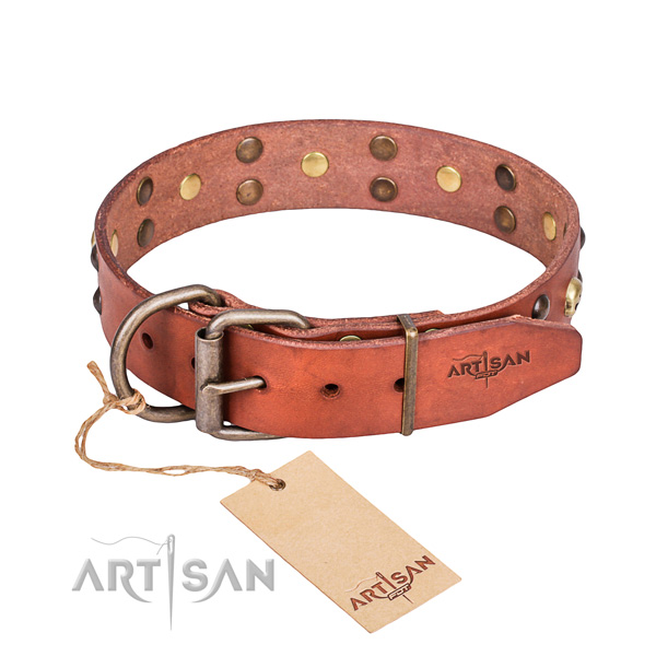 Leather dog collar with rounded edges for comfy daily wearing