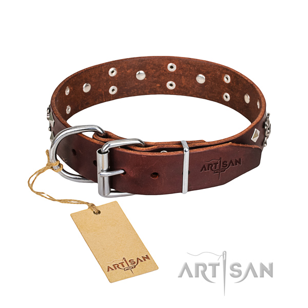 Heavy-duty leather dog collar with corrosion-resistant hardware