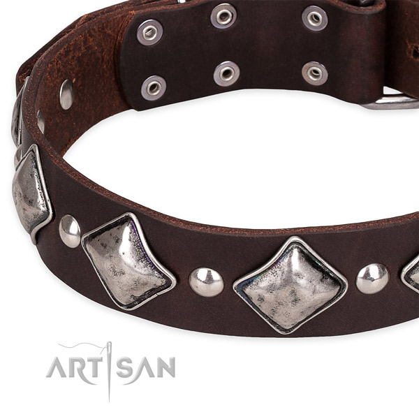 Easy to adjust leather dog collar with almost unbreakable durable hardware
