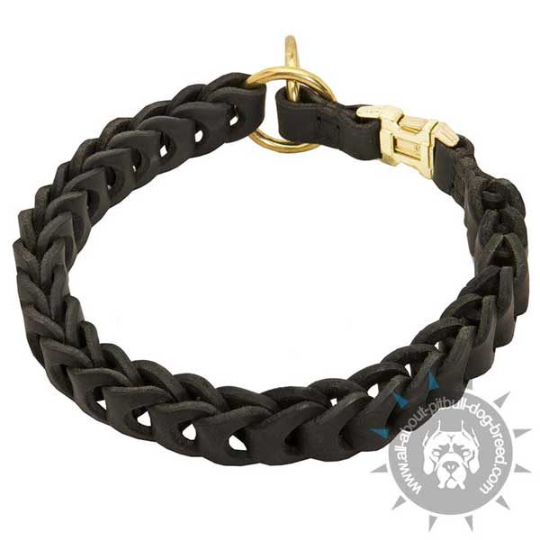 Leather Pitbull Choke Collar Braided Additionally Equipped with Quick Release Buckle