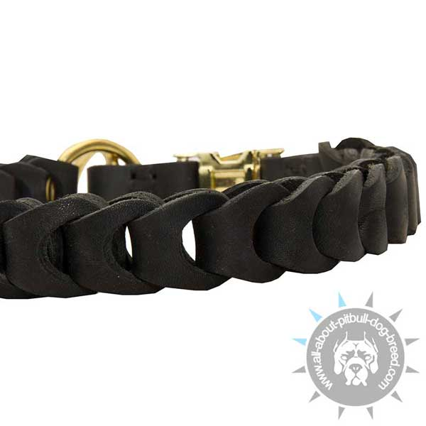 Handmade Braided Leather Pitbull Choke Collar Black