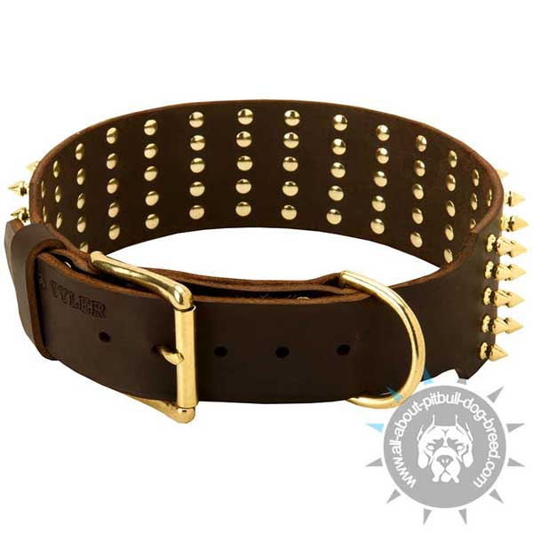 Buckled Leather Pitbull Collar Riveted for More Durability