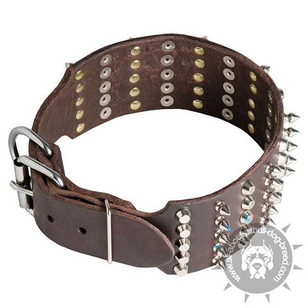 Wide Leather Pitbull Collar with Riveted Spikes and Pyramids