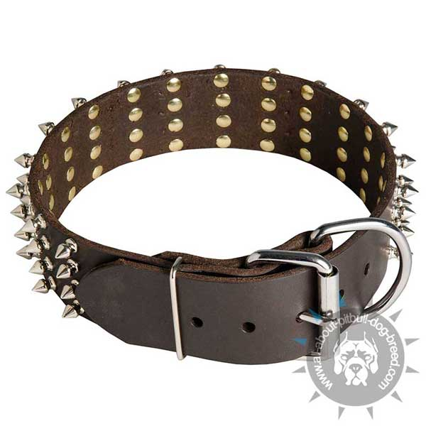 Leather Pitbull Collar with Strong Hardware