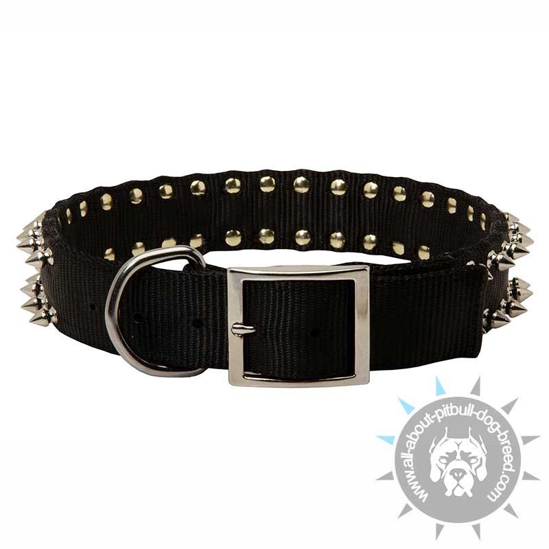 Black Colored Nylon Spiked Dog Collar Custom Made Dog