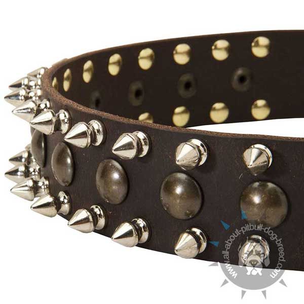 Extra Durable Leather Collar with Decorations