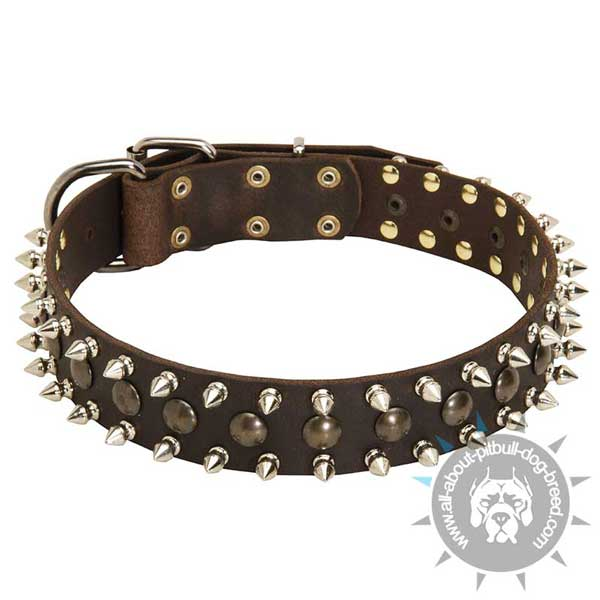 Leather Dog Collar with Studs and Spikes for Pitbull