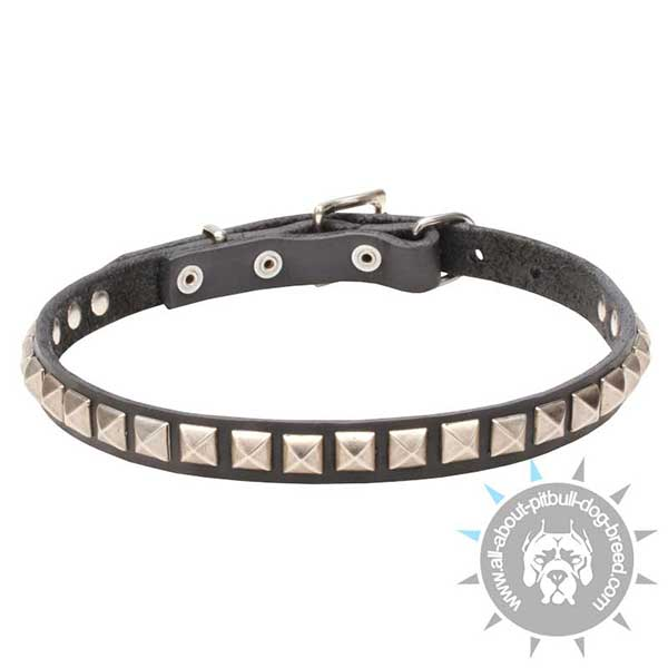 First-Rate Leather Collar with Chrome Plated Studs