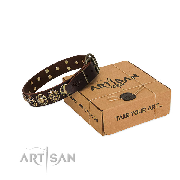 Adorned leather dog collar for handy use