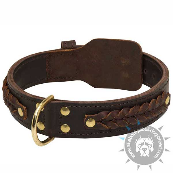 Braided Design Leather Collar