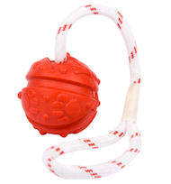 Rubber Tug Ball on Rope for Everlasting Pitbull Fun - 2 3/4 inch (7 cm)