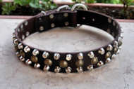 3 Rows Leather Dog Collar &Pyramids & Studs-Studded dog collar