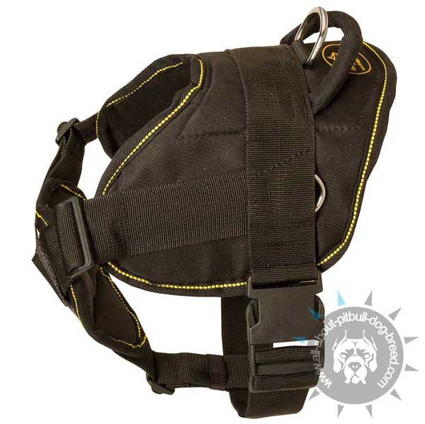 Custom made nylon dog harness is easy-to-use