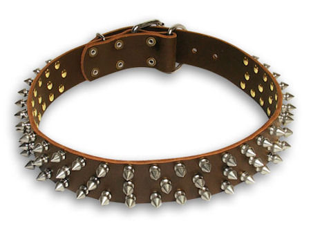 Spiked Leather Brown collar 26'' for PITBULL /26 inch dog collar - S44