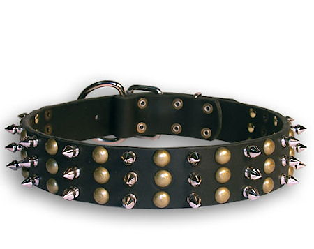 Spiked and Studded Black collar 24'' for PITBULL /24 inch dog collar-S59